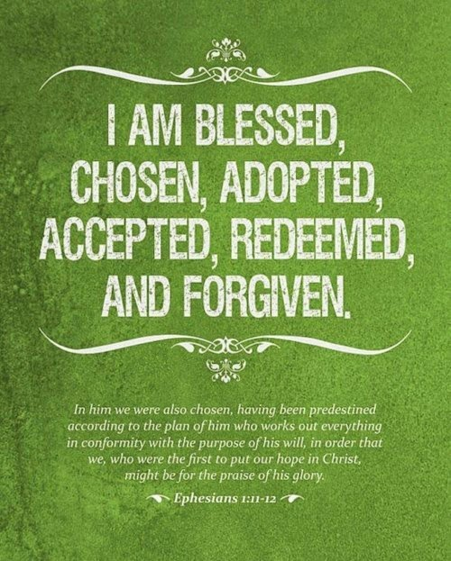 """A text that reads, """"I am blessed, chosen, adopted, accepted, redeemed, and forgiven. Ephesians 1:11-13"""