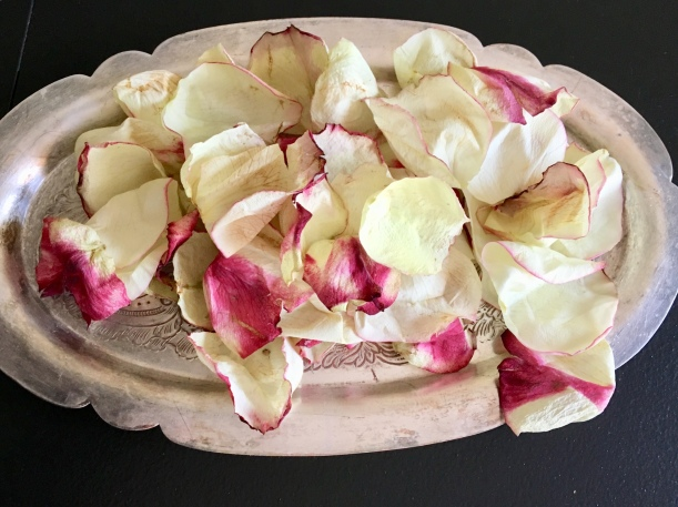 small silver tray with pink-tipped petals on top against a black background
